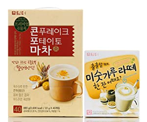 Damtuh Korean Potato & Yam Corn Flakes Tea 40 Sticks + Roast Grain Latte 12 Sticks