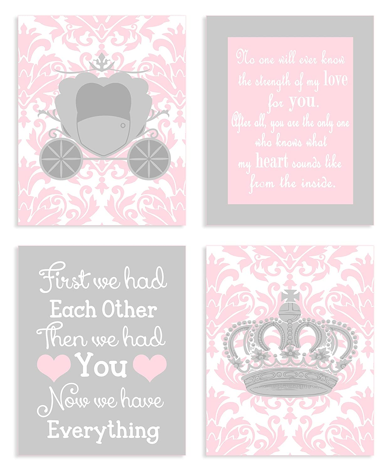 The Kids Room by Stupell Sweet Messages in Pink and Grey 4-Pc Rectangle Wall Plaque Set brp-1625 quad