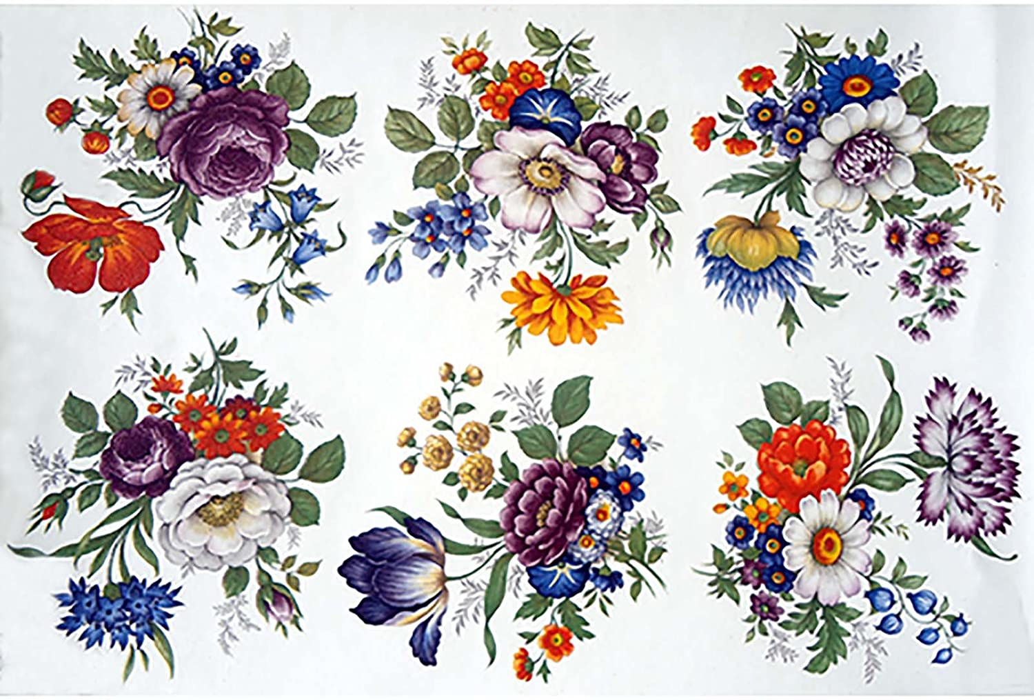 Select-A-Size 6 pcs 4 X 3-3//4 4184 Wild Flowers Ceramic Decals By The Sheet
