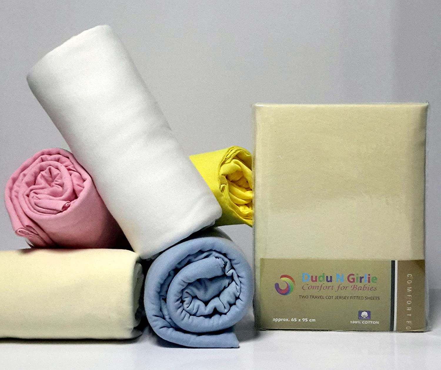 Dudu N Girlie Thick Cotton Travel Cot Fitted Sheets, 65 cm x 95 cm, 2-Piece, Cream Dudu N Girlie Limited B01G5N8WQ4