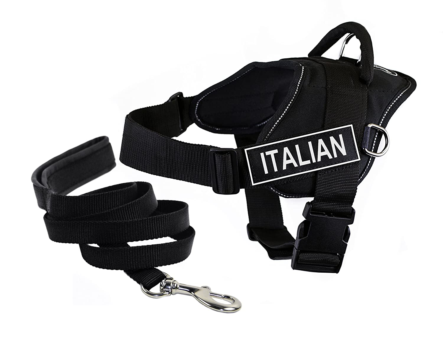Dean & Tyler Bundle X-Large Black DT Fun Italian Reflective Harness with Padded Puppy  Leash and 6-Feet Stainless Steel Snap