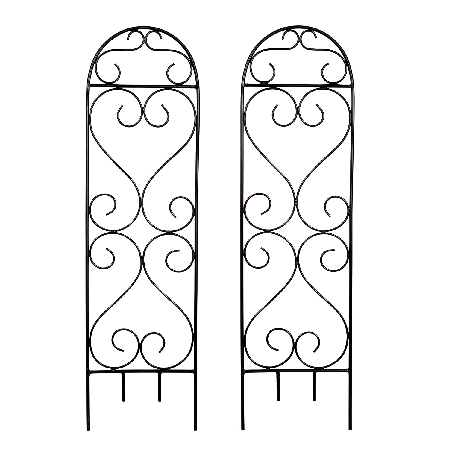 "Hosley's Set of 2 Scroll Planter Trellis, 27"" High. Ideal Gift for Wedding or Party and Use Next to Structures (Home or Office) or in Planters for Growing Floral, Plants, Vines and Vegetables O4"