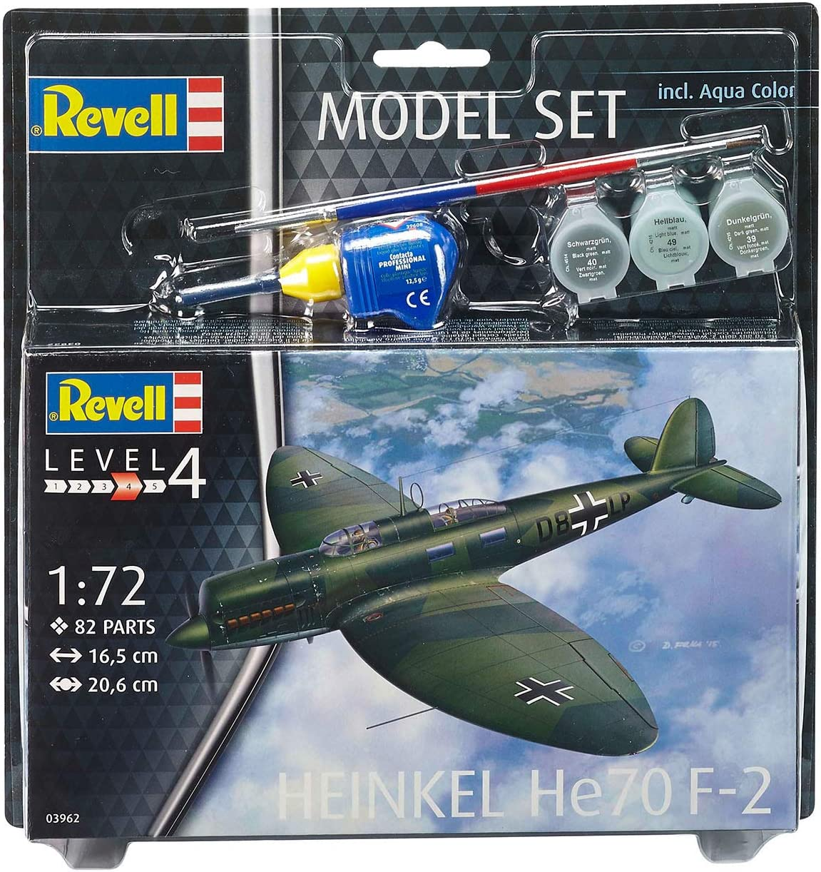 1:72 Scale Multi-Color Revell 63962 82 Pieces Heinkel He70 F-2 Model Set Level 4