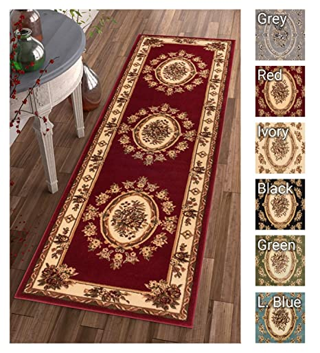 Pastoral Medallion Red French European Formal Traditional 2x7 23quot X 7