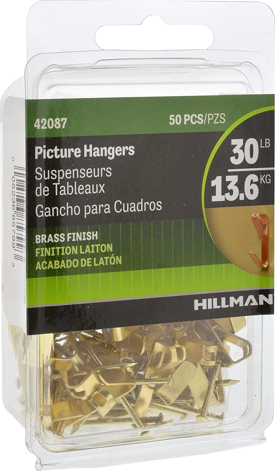 Hillman 42087 Brass Conventional Picture Hanger 30lbs Value Pack of 50