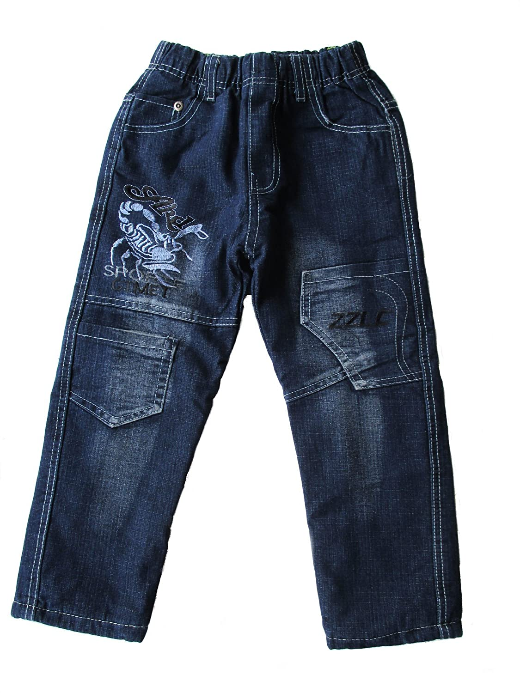 Kinder Jungen Thermo Jeans, Thermojeans, Thermohose, gefüttert, mit Motiv 'Skorpion', blau, RB012