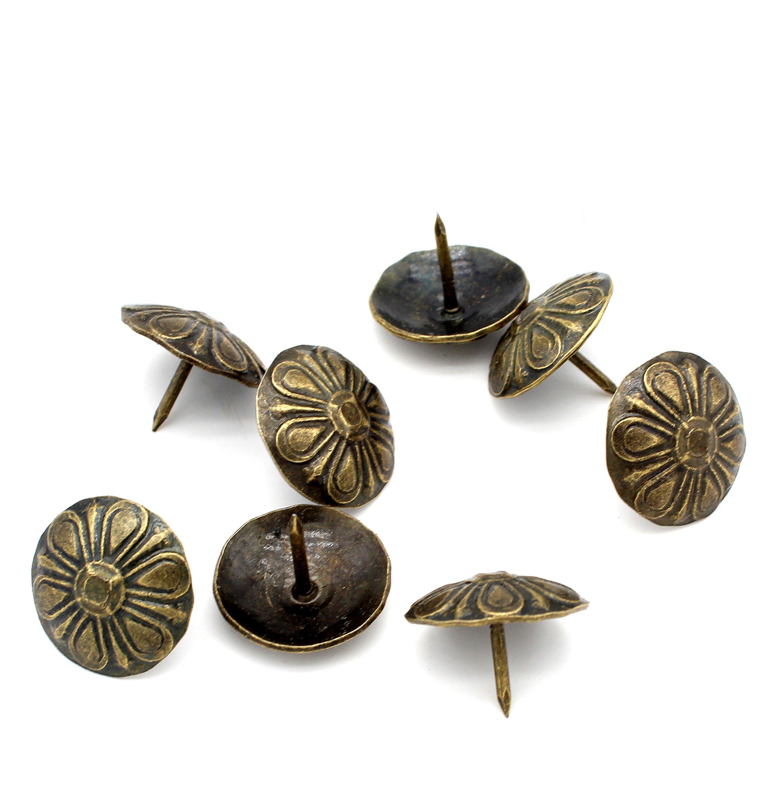 Castuvy Antique Bronze Chrysanthemum Head Decorative Nails, 0.75''(Head), 0.6''(All Lengths), 100 Pieces