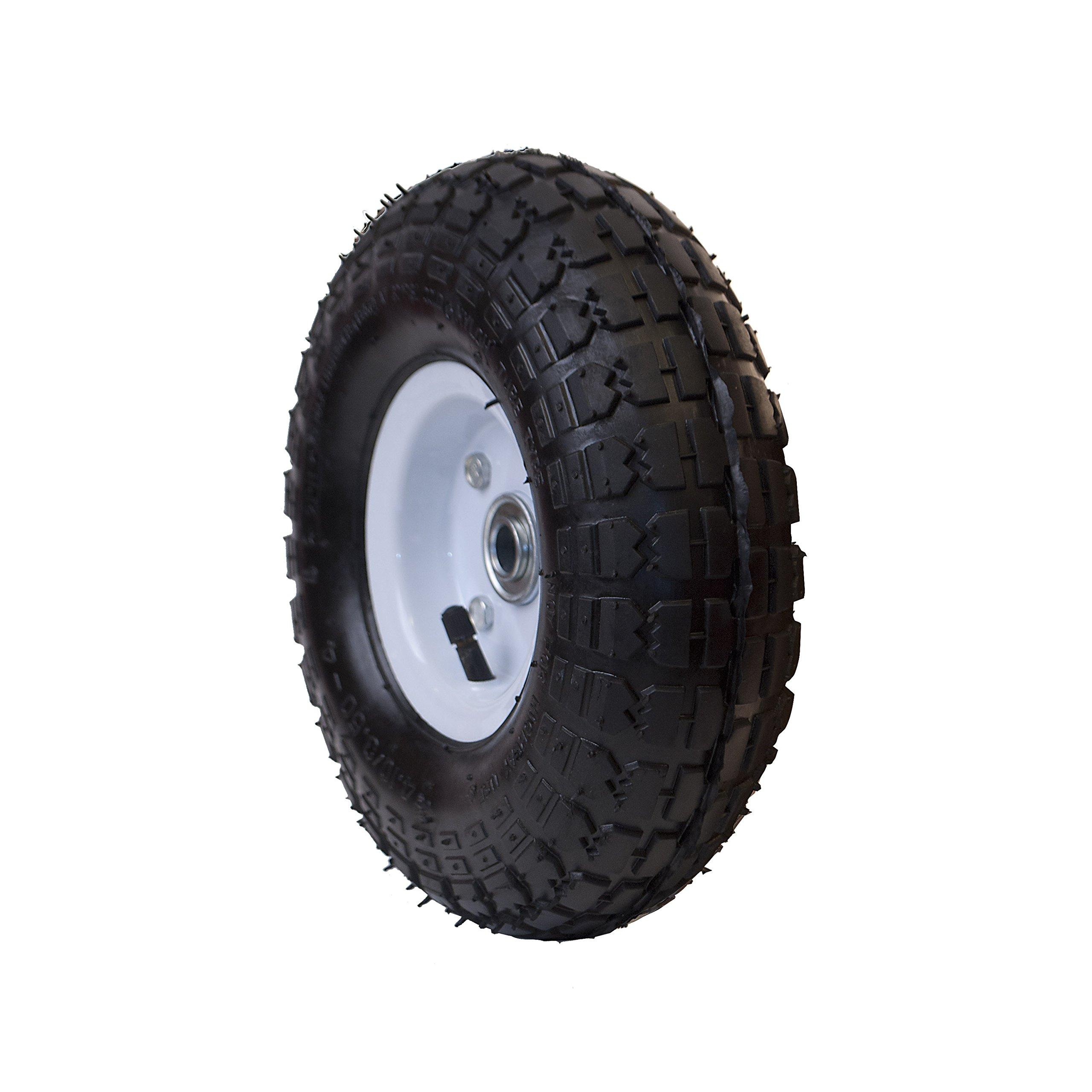 Ireko WAP10 Pneumatic Replacement Wheel for Wheelbarrow Air Filled Turf Tire for Hand Trucks 10 Inches Black White Rim
