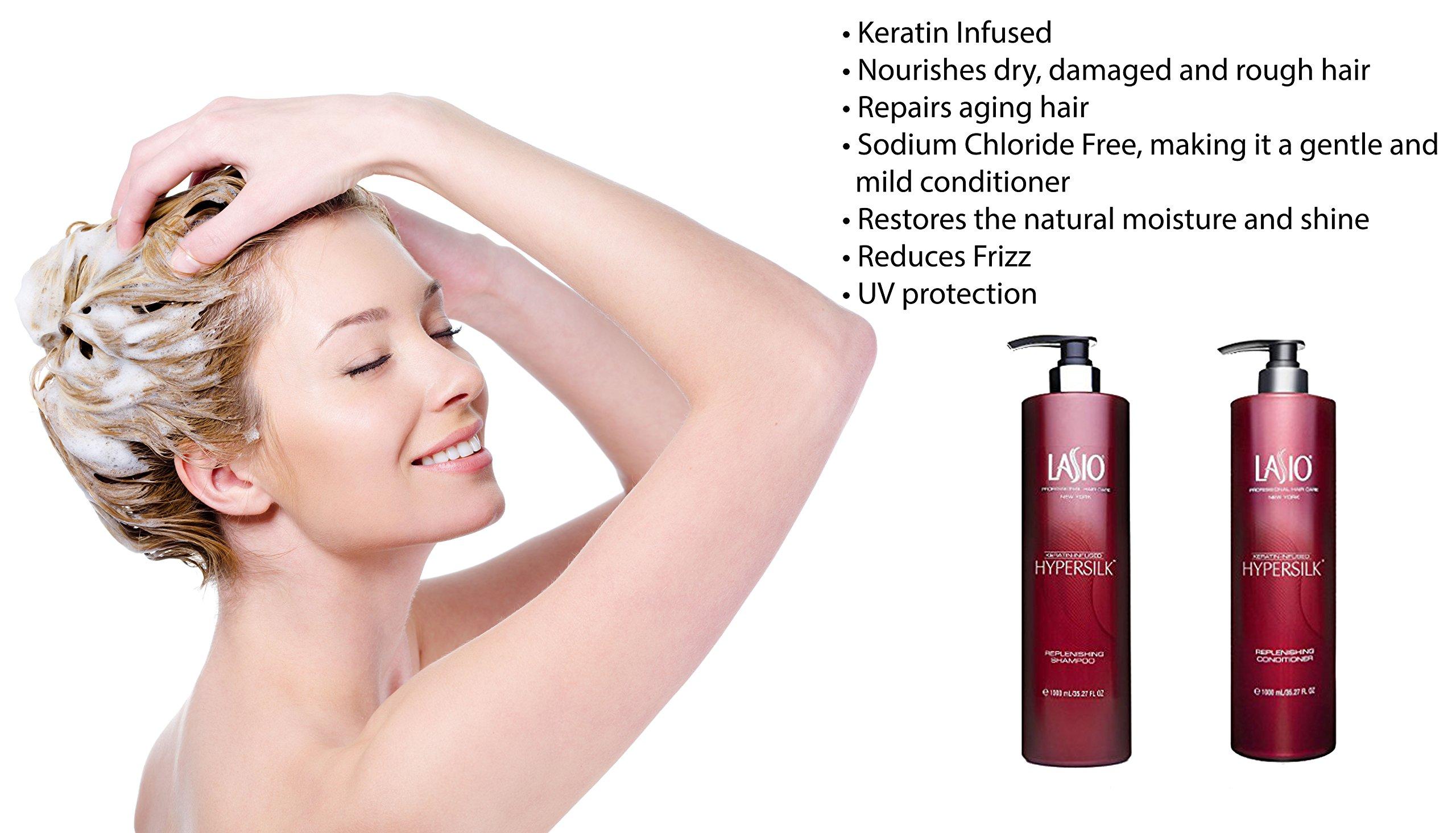 Lasio Keratin Infused Hypersilk Replenishing Shampoo and Conditioner, 35.27 fl. oz.
