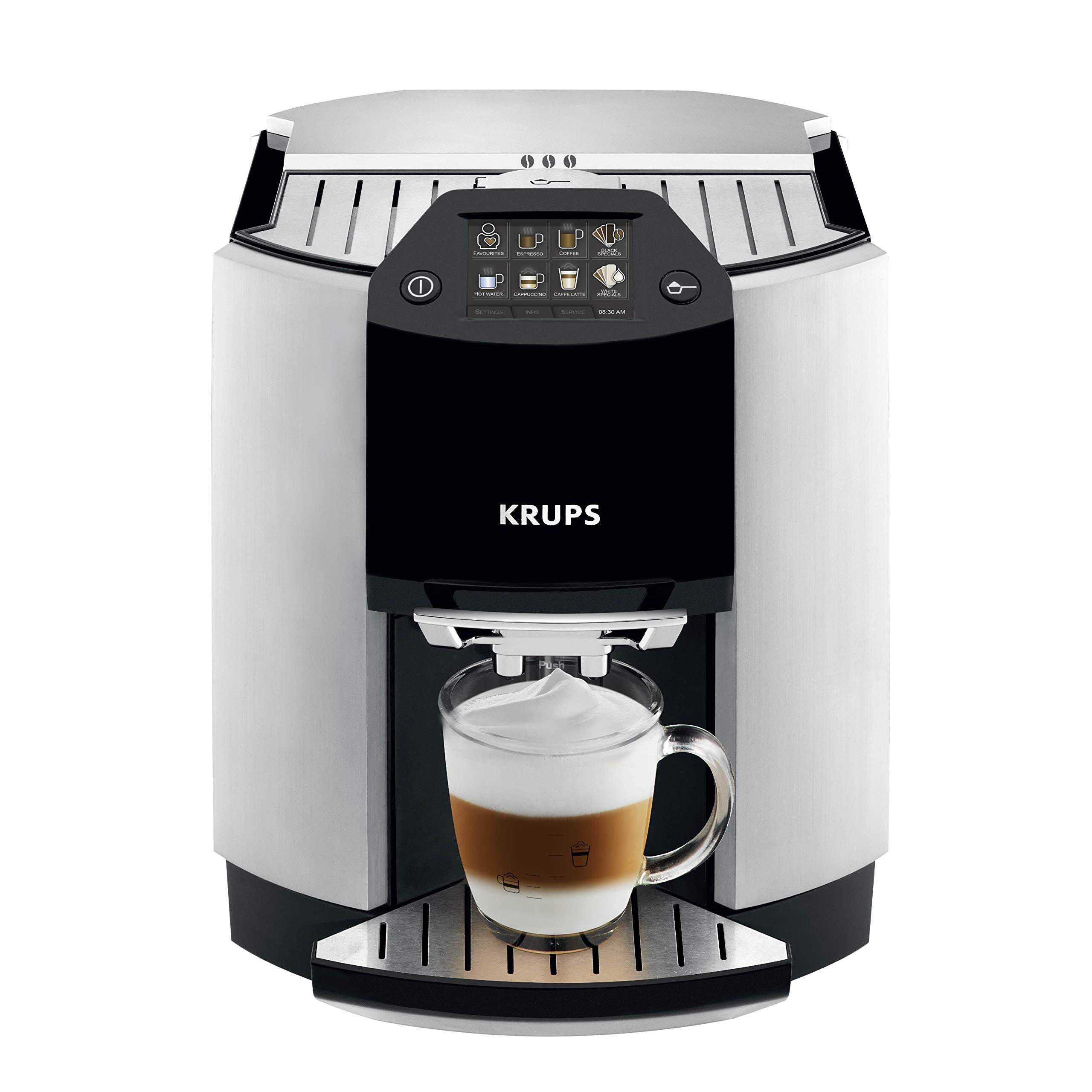 KRUPS EA9010 Fully Auto Cappuccino Machine Espresso Maker, Automatic Rinsing, Two Step Milk Frothing Technology, 57 Ounce, Silver by KRUPS