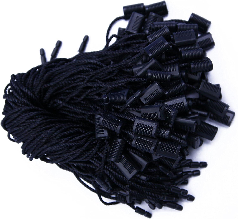 7 Inch Black Hang Tag Nylon String Snap Lock Pin Loop Fastener Hook Ties 300 Pcs