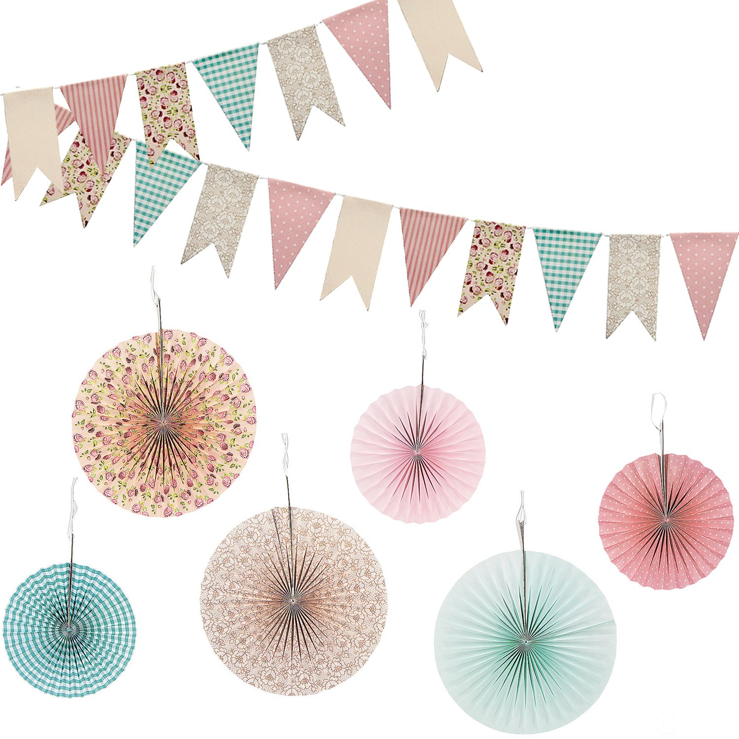 Vintage Floral Hanging Fans and Banner Decorations Decor 7 PC Pack for Wedding, Tea Party or Birthday Party in multicolor multi-colored designs by RBBZ Party