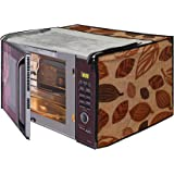 Glassiano Leaves Printed Microwave Oven Cover for IFB 23 Litre Convection (23BC4, Black+Floral Design)