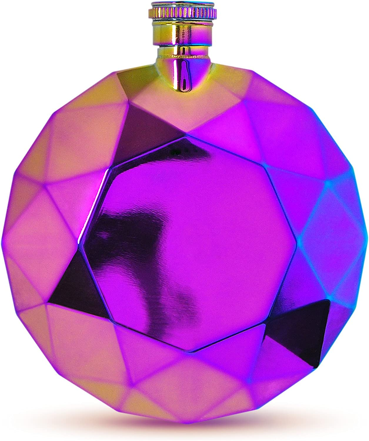 Fancy That Faceted Gem Style Pocket-Sized Liquor Flask, 6-Ounce, Rainbow