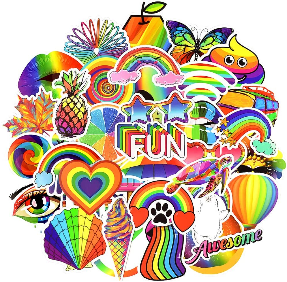 Colorful Waterproof Vinyl Stickers Pack for Laptop Water Bottle Party Favors (50 Pcs Rainbow Style)