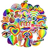 Waterproof Vinyl Colorful Stickers Pack for Laptop Water Bottle Party Favors (50 Pcs Rainbow Style)