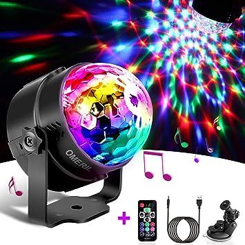 Luces Discoteca OMERIL Bola Discoteca con 4M Cable USB, LED Giratoria Luz de Fiesta con Sonido Activado, Control Remoto y 7 Colores RGB, Ideal para ...