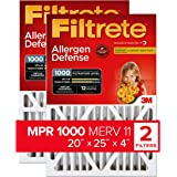 Filtrete 20x25x4, AC Furnace Air Filter, MPR 1000 DP, Micro Allergen Defense Deep Pleat, 2-Pack (exact dimensions 19.88 x 24.