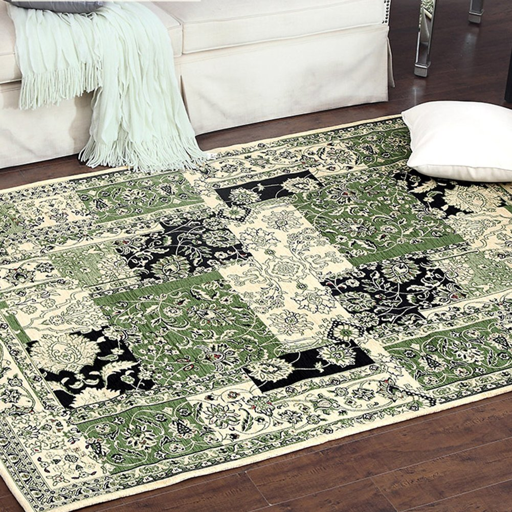Contemporary Rustic Style Area Rugs - MeMoreCool Material Beautiful Floral Patterns in Checked Design Great Home Decoration Machine Washable 47 X 71 Inch