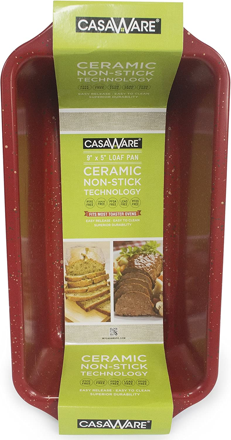 casaWare Loaf Pan 9 x 5-Inch Ceramic Coated Non-Stick (Red Granite)