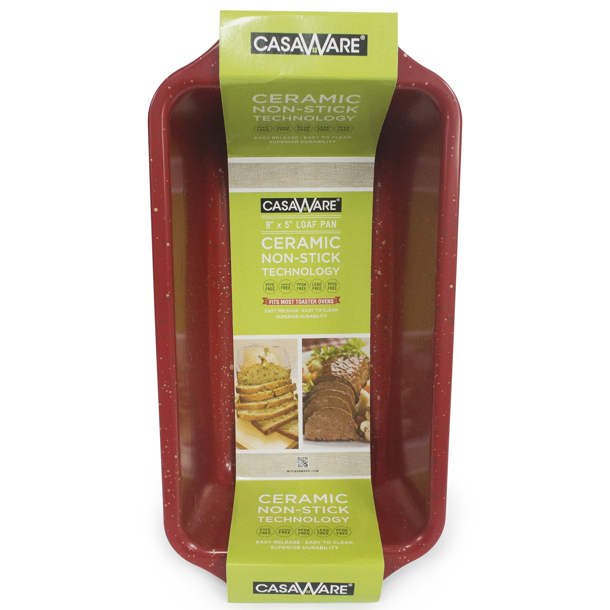 casaWare Loaf Pan 9 x 5-Inch Ceramic Coated Non-Stick (Red Granite)
