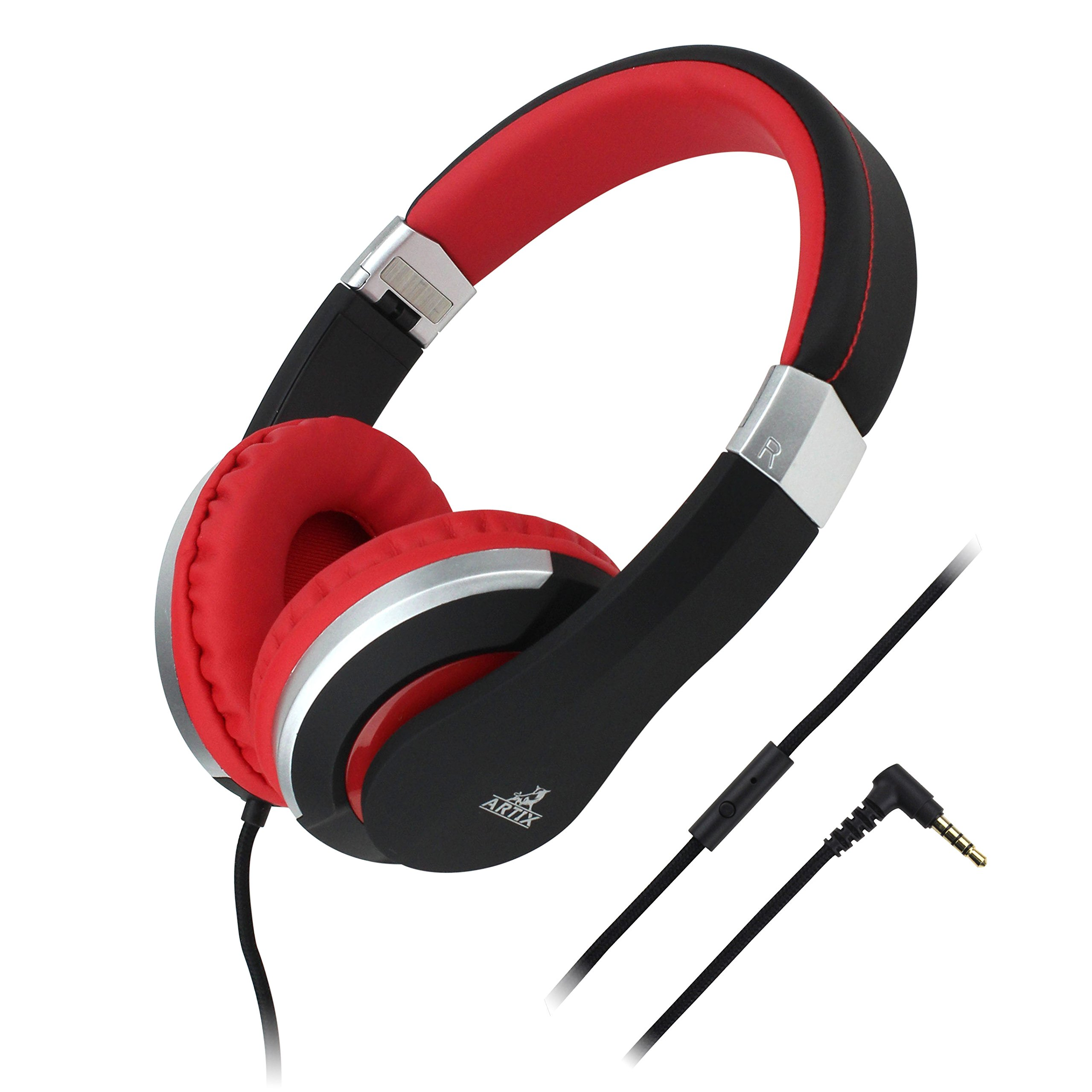 Artix CL700 On-Ear Foldable Adjustable Tangle-Free Wired Headphones, Compact Stereo Earphones with In-line Microphone and Controls for Children, Teen, Adult - iPhone iPad, Android Samsung Black & Red by ARTIX
