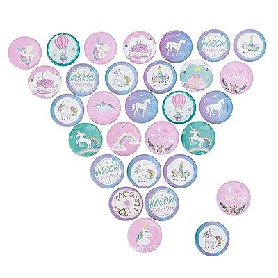 30 Piezas Unicornio Colorido Insignia de Botones Pin Broche de Unicornio para Infantiles niños Unicornio Fiestas de cumpleaños Regalos: Hogar