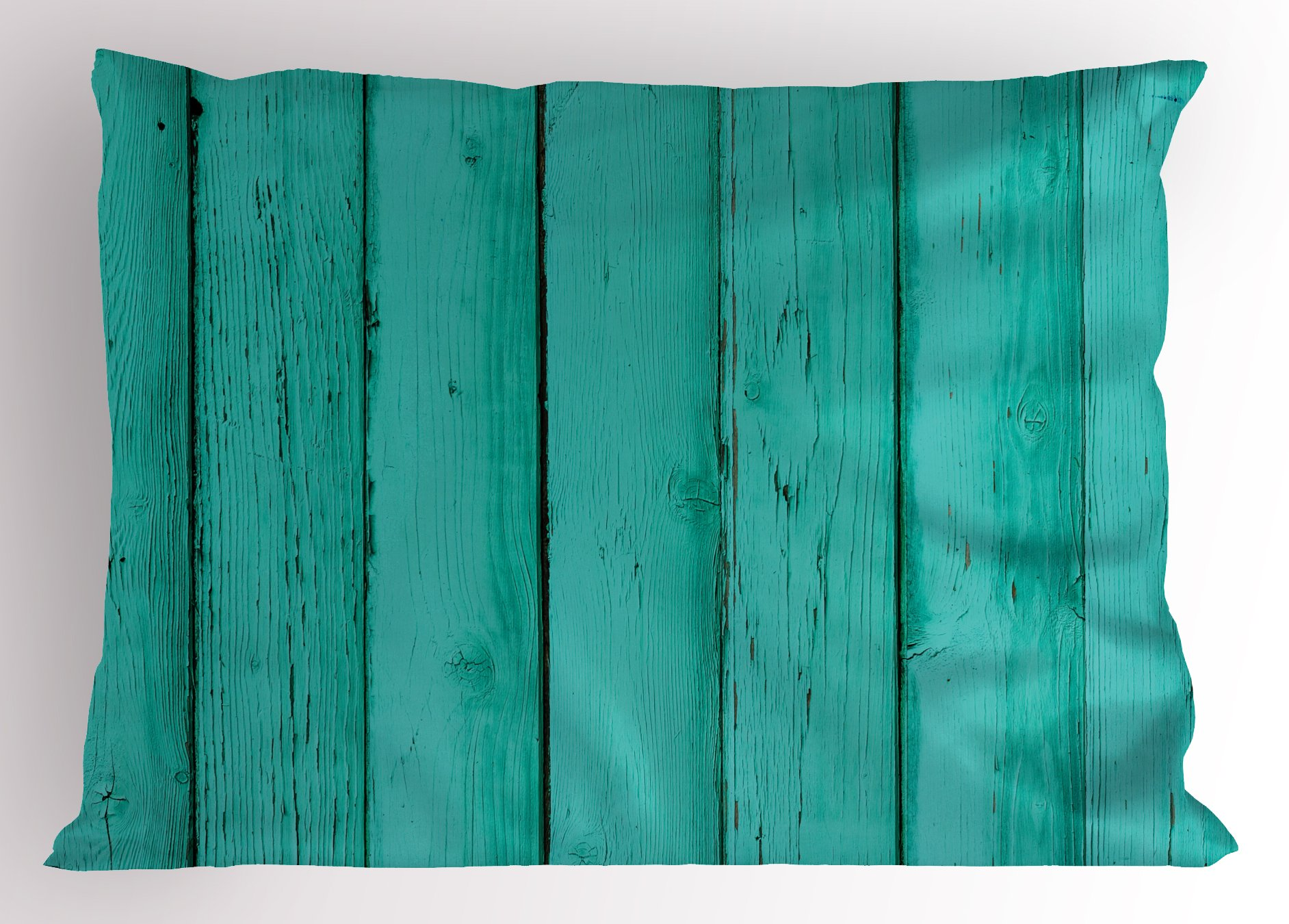 Lunarable Mint Pillow Sham, Old Wood Rustic Oak Plank Background with Vertical Striped Vivid Woods Farm Barn Image, Decorative Standard King Size Printed Pillowcase, 36 X 20 inches, Sea Green