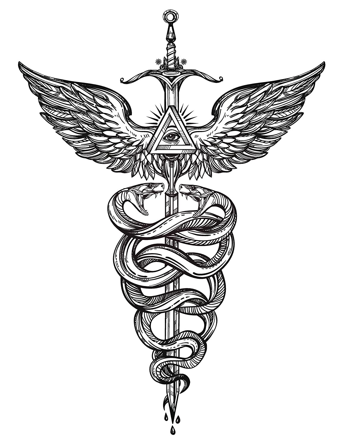 Amazon Caduceus Medical Symbol With Snakes And Wings Vinyl
