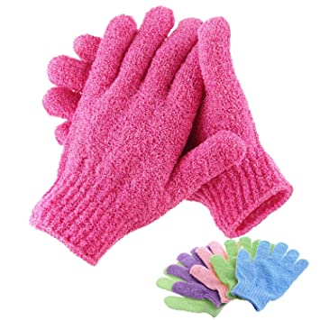 Bath & Body Health & Beauty Set Of 2 Bath Gloves Exfoliating Pink Magenta Shower Skin Care Foaming Elastic