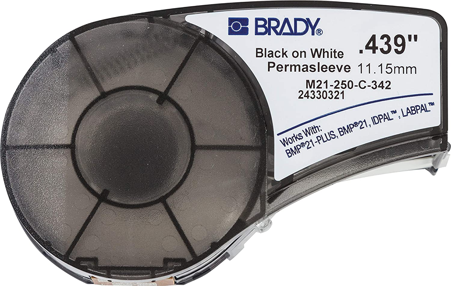 """Brady PermaSleeve Heat-Shrink Polyolefin Wire Marking Sleeves (M21-250-C-342) - Black On White Sleeves - Compatible with BMP21-PLUS Label Printer, ID PAL, and LABPAL Printers - 7' Length, 0.439"""" Width"""