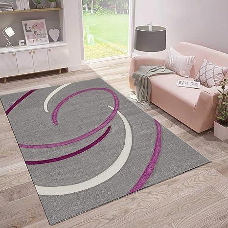 Perfekt VIMODA Wohnzimmer Teppich Modern Kreisel Muster Handgeschnittene Konturen Farbe  Grau Lila, Maße:160 X
