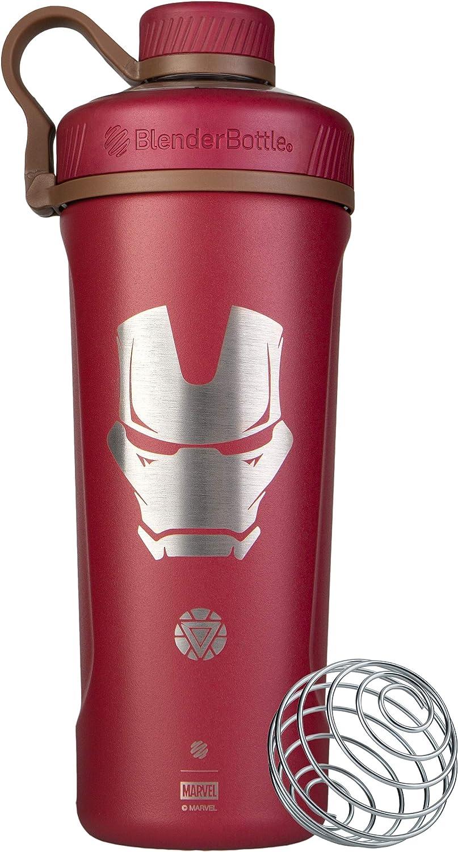 BlenderBottle Marvel Comics Radian Insulated Stainless Steel Shaker Bottle Stocking Stuffer, 26-Ounce, Iron Man Reactor