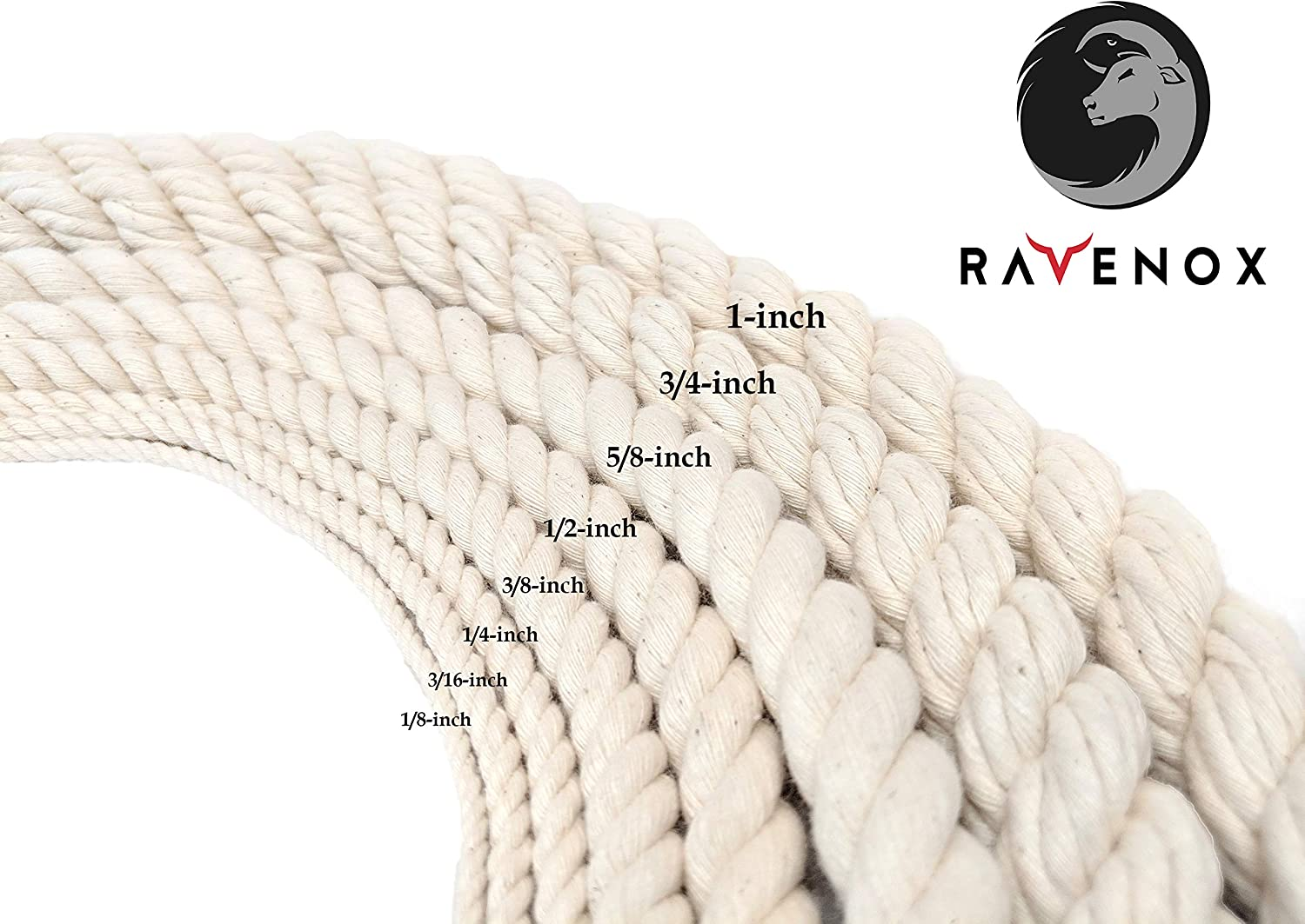 Crafts |USA Made Natural Cord Pet Toys White Ravenox 100/% Cotton Twisted Rope | Macram/é Knotting Baker /& Butchers Twine 3//8 in x 10 ft