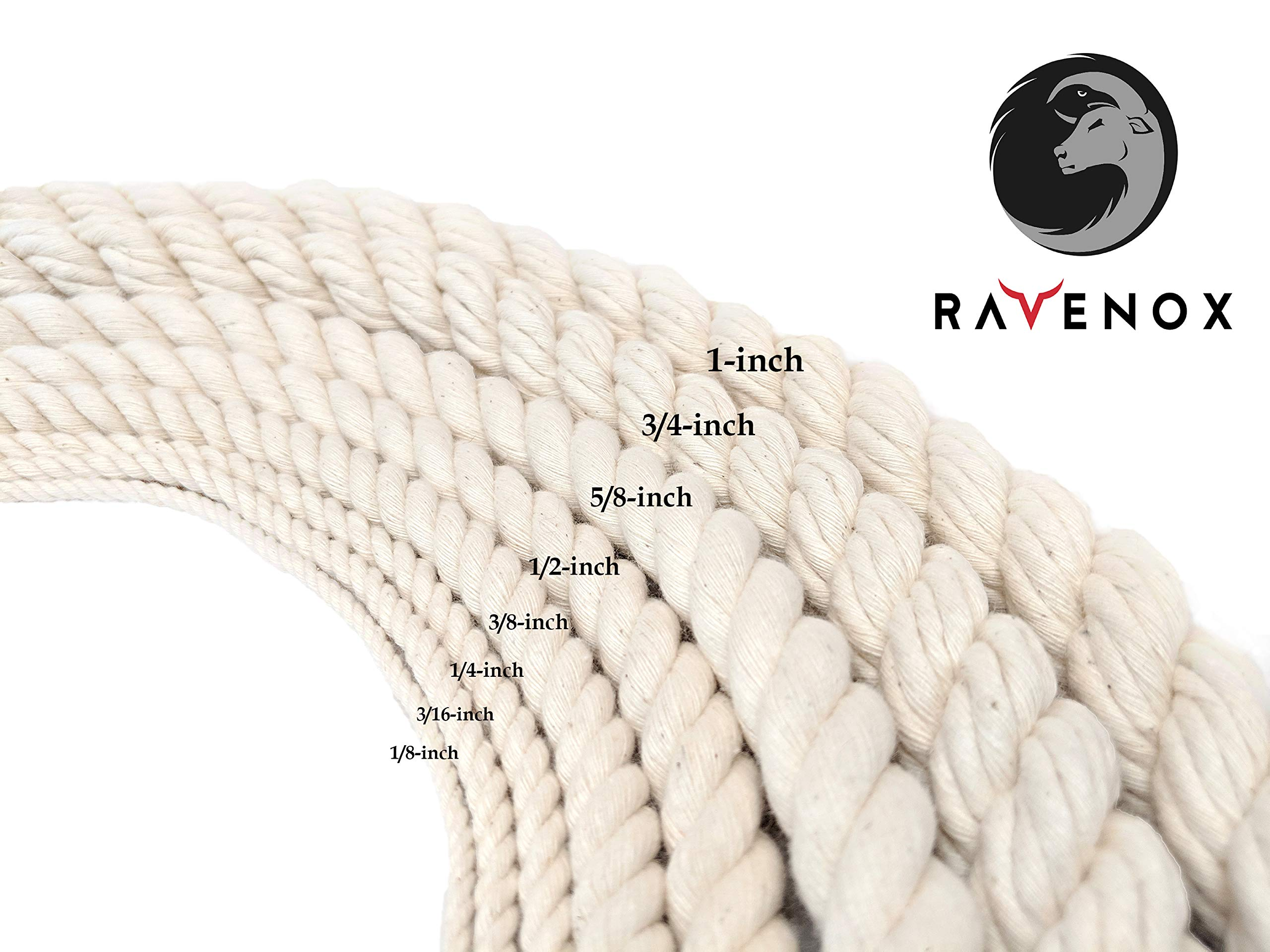 Ravenox 100% Cotton Twisted Rope | (White)(3/8 in x 1000 ft) |USA Made Natural Cord | Baker & Butchers Twine, Macramé, Knotting, Crafts, Pet Toys by Ravenox (Image #3)