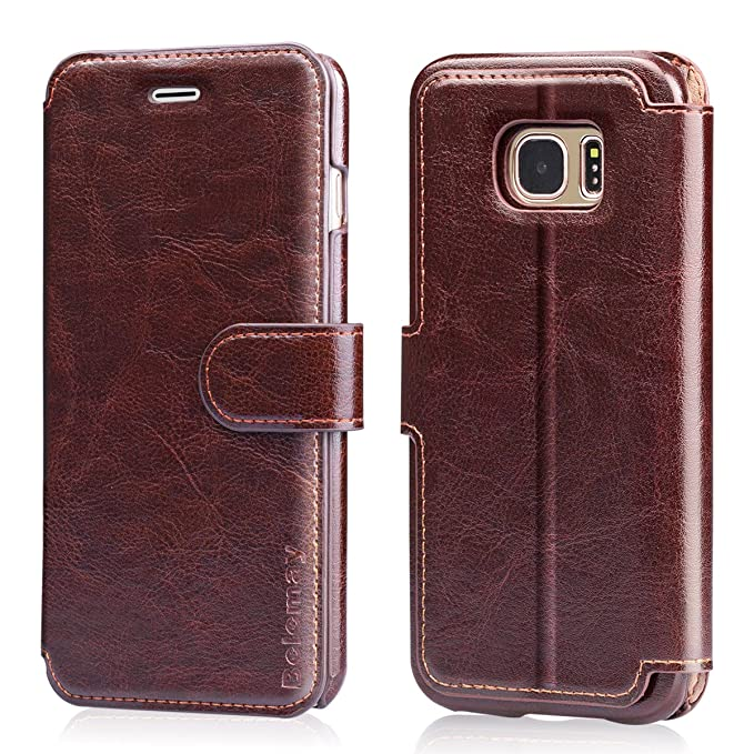 9e8fba6fc91 Belemay Samsung Galaxy S7 Edge Case, Genuine Cowhide Leather Wallet Case,  Flip Folio Book