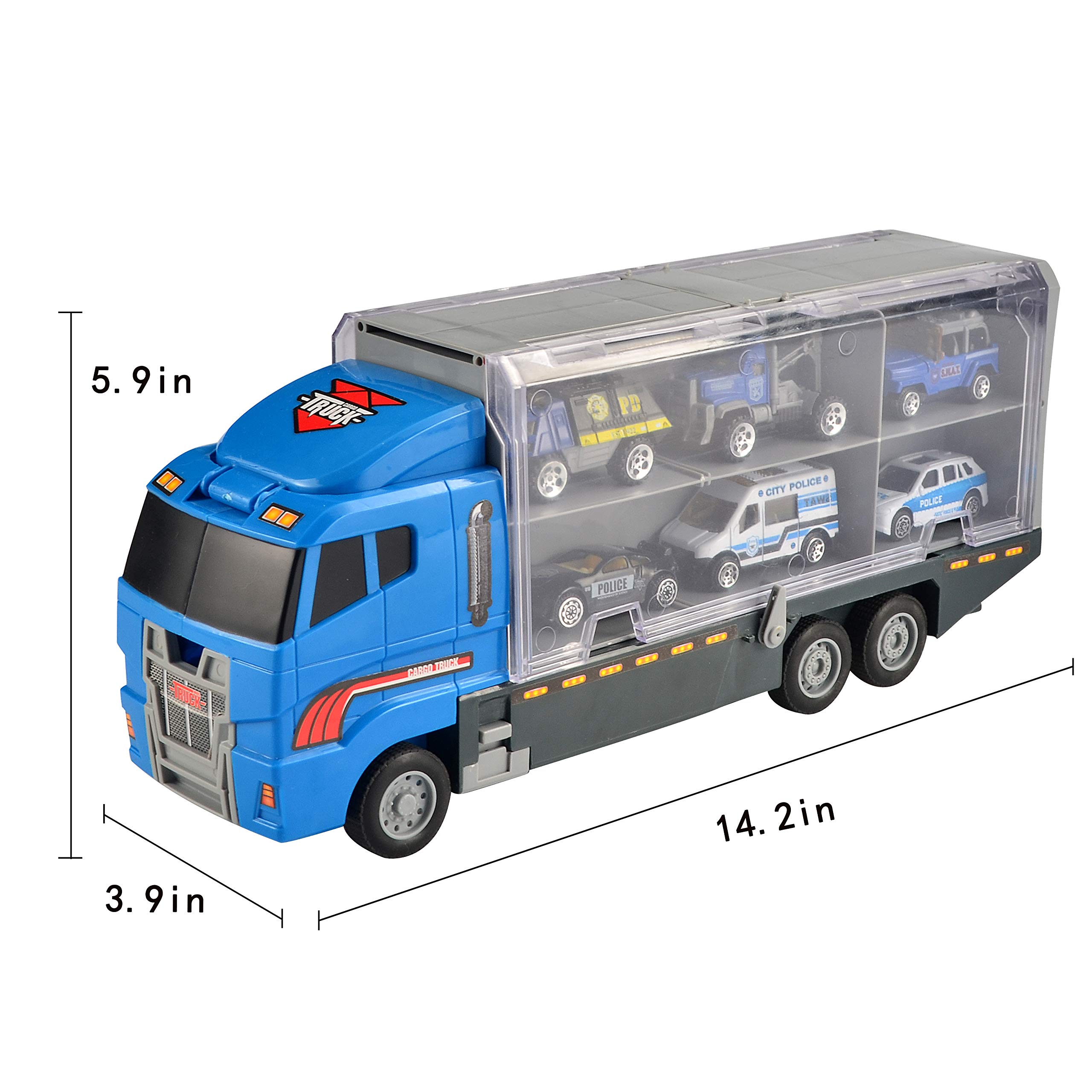 6 PCS JQGT Trading JQGT Diecast Police Cars Metal Playset Vehicle Models Collection Police Patrol Jeep Swat Truck Toy for Kids