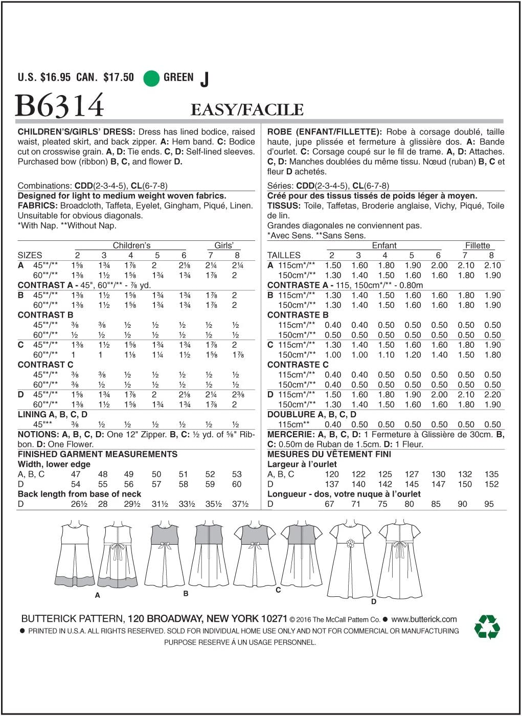 Butterick Girls Easy Sewing Pattern 6314 Pleated Skirt Dresses