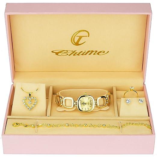 65025fa1dc744 Coffret Cadeau Montre Femme - Parure de Bijoux- Collier-Bague- Boucles d'