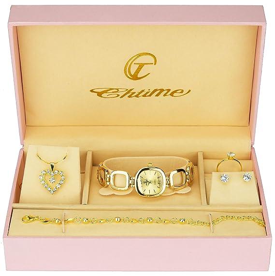 4897231fb14d Caja de Regalo Reloj Mujer - Juegos de Joyas- Collar-Anillo- Pendientes -  Pulsera  Amazon.es  Relojes