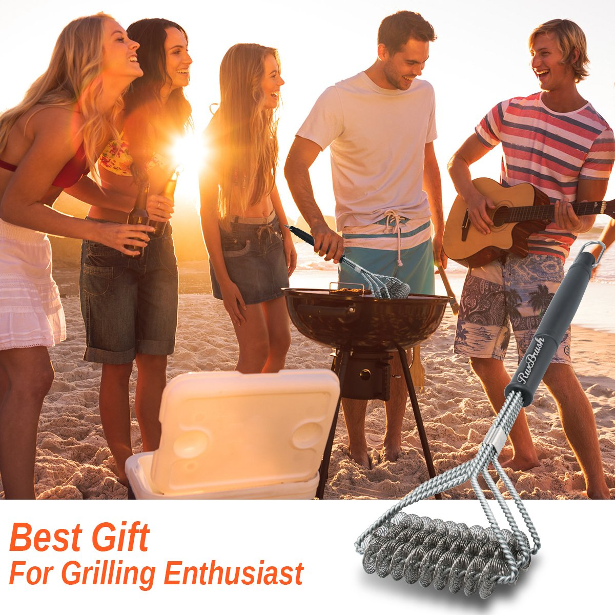 Grill Brush and Scraper Grill Brush Bristle Free - Grill Brsh 18'' for Porcelain Grates Outdoor Stainless Steel Grill Cleaner Tool - BBQ Safe Scraper Barbeque Cleaning Accessories Stainl … by RuxBrush (Image #4)
