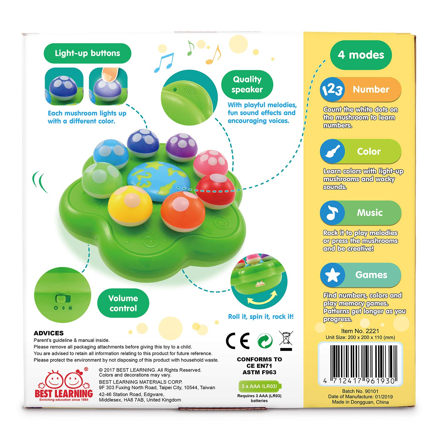BEST LEARNING Mushroom Garden - Interactive Educational Light-Up Toddler Toys for 1 to 3 Years Old Infants & Toddlers - Colors, Numbers, Games & Music for Kids by BEST LEARNING (Image #9)