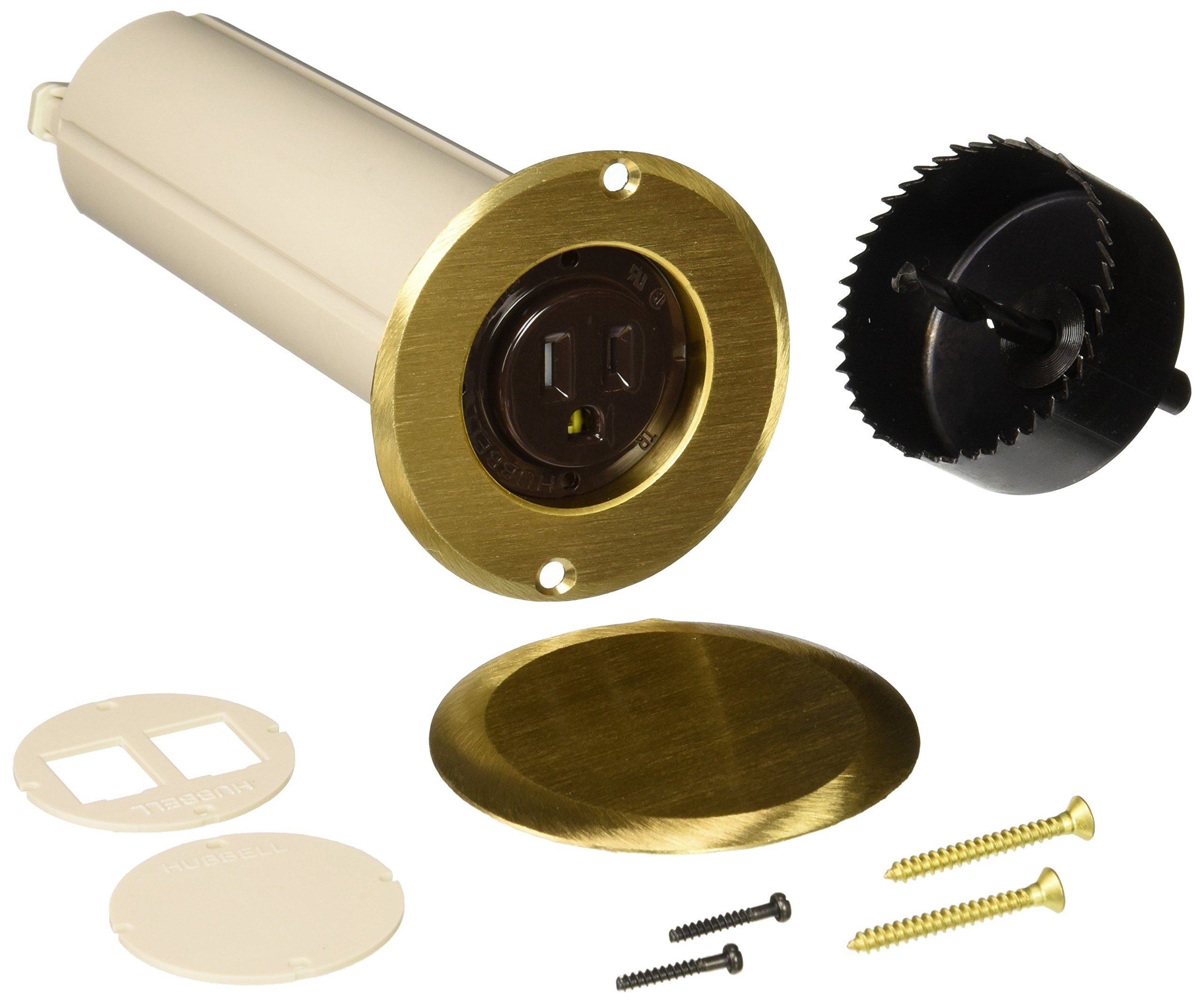 Hubbell-Raco 6RF151SR Drop in Floor Box Kit with Brass Cover, Single Tamper Resistant Receptacle & 2-1/2-Inch Hole Saw