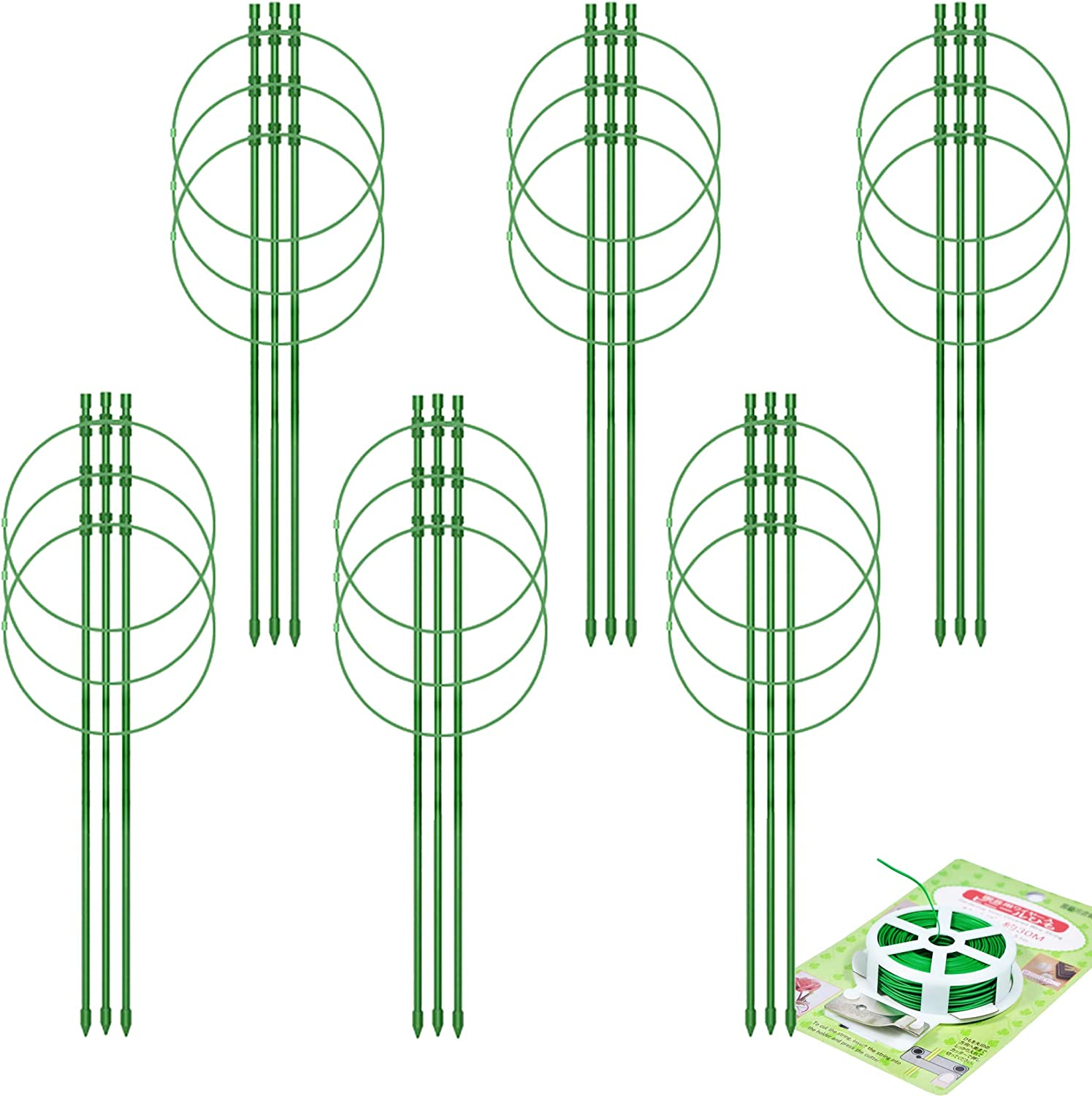 Olgaa 6pcs Garden Plant Support Tomato Cage for Climbing Plants, Outdoors Trellis Flower Support Climbing Vegetables & Flowers Grow Cage with 20 Meters Rope