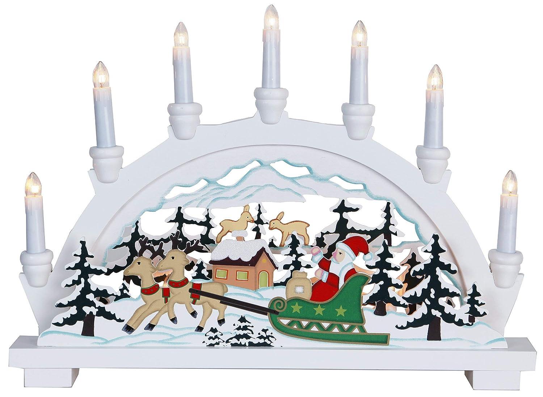 Christmas Star 270-59 German legno colore: bianco dimensioni 33 x 45 cm con 10 lampadine chiare Babbo Natale in slitta