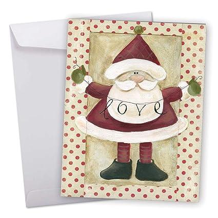 Amazon j6659bxsg jumbo merry christmas greeting card santa j6659bxsg jumbo merry christmas greeting card santa banners featuring a sweet santa holding a m4hsunfo