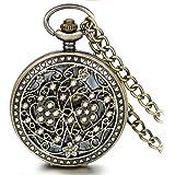 JewelryWe 大切な人や,彼氏・彼女へのプレゼント:アンティーク風 手巻き式 懐中時計,ペンダントウォッチ ポケットウォッチ,ハート フラワー,合金