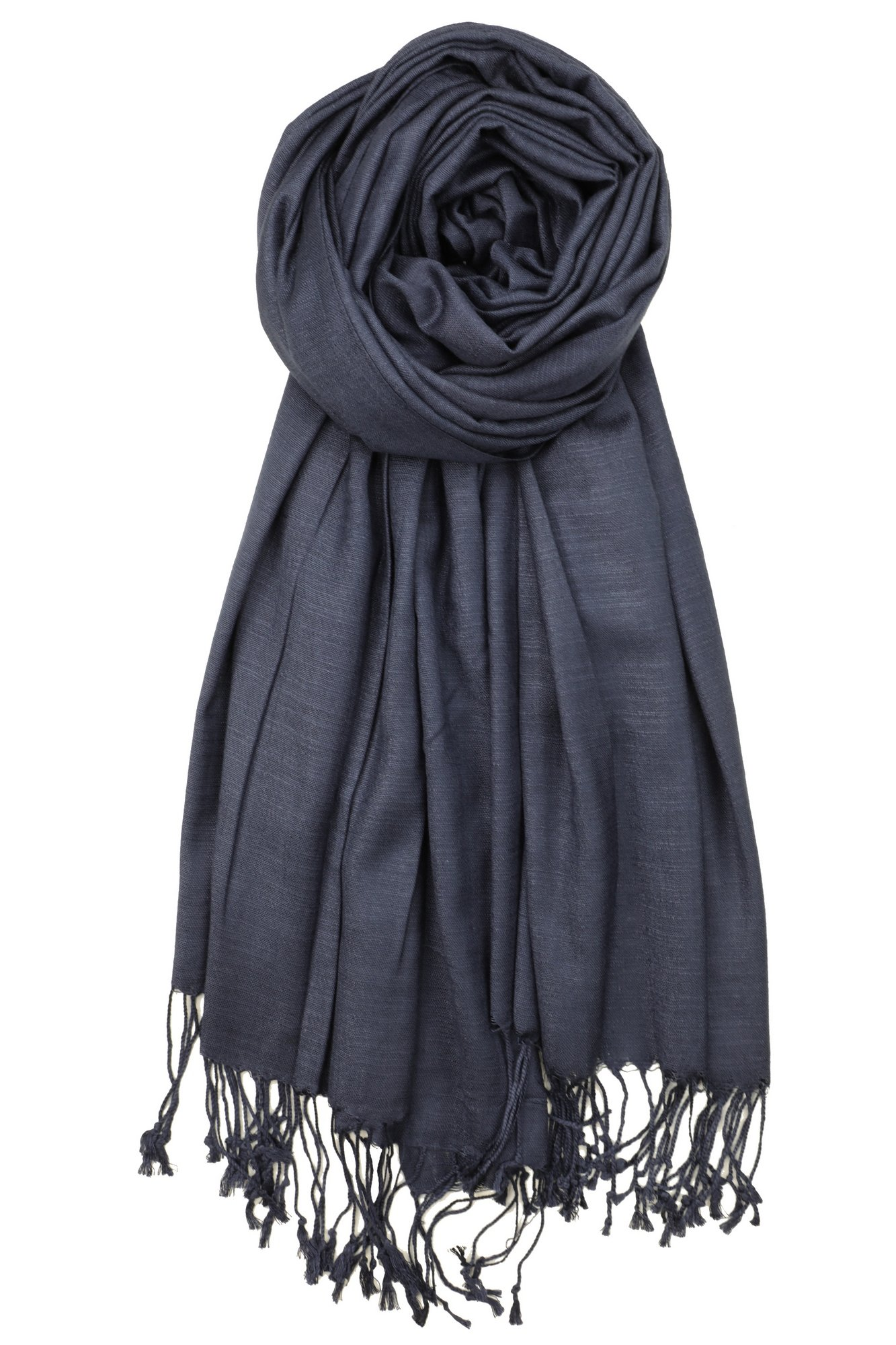 Achillea Bamboo Rayon Feel Soft Silky Pashmina Solid Shawl Wrap Scarf (Navy)
