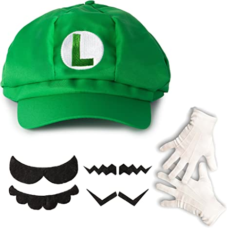 Costume for Adults /& Children in 4 Gloves an... thematys Super Mario Luigi Hat