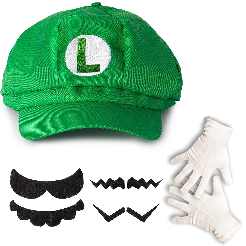 Katara 1659 - Luigi Set, Mütze + Schnurrbart + Handschuhe, Kostüm Verkleidung Fasching Karneval Halloween, Grün Grün Katara Trading 0763461100862